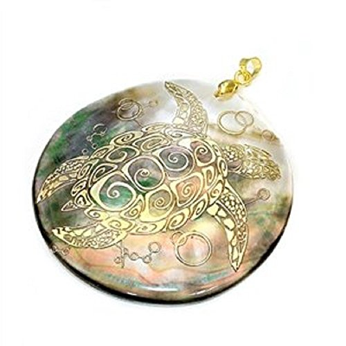 Black Lip Pendant Shell Pendant - Gold-tone Sea Turtle Image Depicted on Natural Shell Pendant