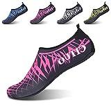 L-RUN Footwear Womens Mens Aqua Foot Water Shoes Soft Red S(W:5.5-6.5) M US