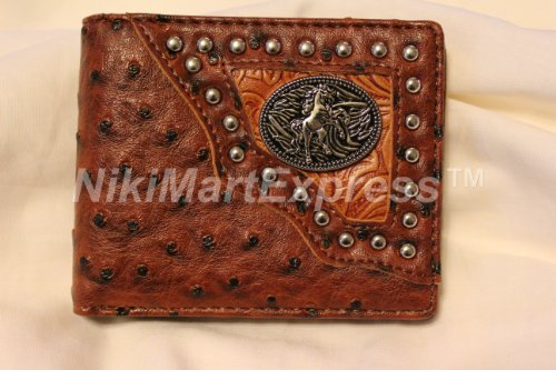 Brown Faux Ostrich Leather WESTERN BILLFOLD RODEO BUDDED WALLET Cast Horse Concho ()