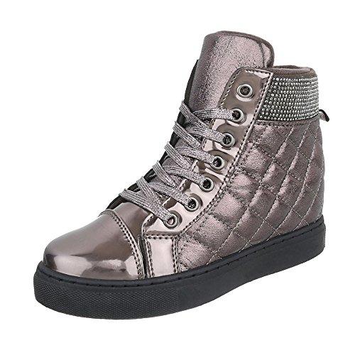 Stivaletto design Ital Pantofole A Donna Argento Grigio 4tdC0Zx