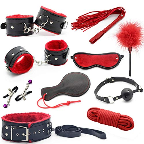Sex Toys for Couples Bondage Restraint Vibrators Leather Handcuffs Nipple Clamps Rope Whip Sexy Toy Sex Tool Adults Sex Products,Black1