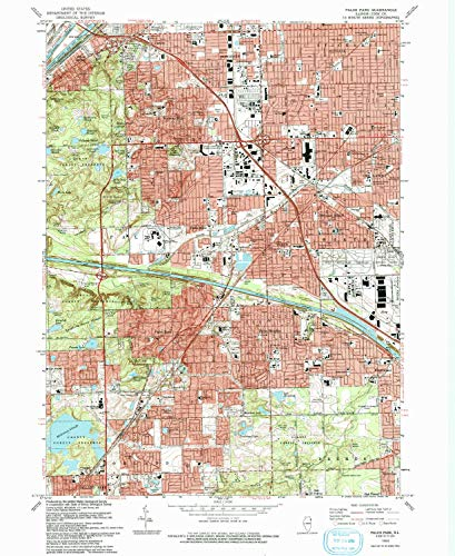 YellowMaps Palos Park IL topo map, 1:24000 Scale, 7.5 X 7.5 Minute, Historical, 1993, Updated 1993, 26.8 x 22 in - Paper