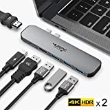 USB C Hub, 4K Dual Monitor Adapter USB Type C Docking Station Compatible for MacBook Pro 2019/2018/2017/2016, MacBook Air 2018/2019 with 2 4K HDMI, 3 USB 3.0, 60W PD Charging