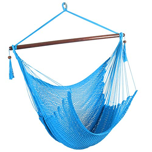 Hammock Net Swing (JOO LIFE Large Caribbean Hammock Hanging Chair -Swing Chair with Wood Bar - Large Hammock Net Chair -Soft Spun Polyester for Indoor & Outdoor Porch and Gardern & Living Room (Blue-Caribbean))