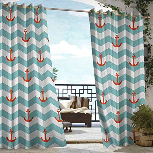 S Brave Sky Anchor Outdoor Curtain Waterproof Simple Pattern Anchor Stripe Artwork Baby Welcoming Wavy Water Tiled Surface Outdoor Curtain for Patio Furniture Red Turquoise (Furniture Garden Tiled)