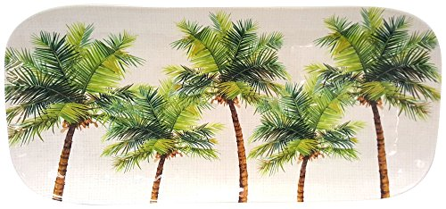 Coastal Home Palm Tree Oblong Tray One Size White/green (Plates Oblong Dinner)