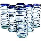 NOVICA Hand Blown Blue Recycled Glass Swirl Tumbler Glasses, 9 oz 'Cobalt Spiral' (Set of 6)