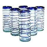 Cheap NOVICA Hand Blown Blue Recycled Glass Swirl Tumbler Glasses, 9 oz 'Cobalt Spiral' (Set of 6)
