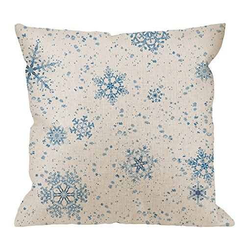 HGOD DESIGNS Snowflakes Pillow Case,Watercolor Blue Snowflakes Painted Seamless Pattern Cotton Linen Cushion Cover Square Standard Home Ative for Men/Women 18x18 inch Blue