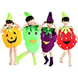 Halloween Costumes Children/Adult Fruits Style Clothes Christmas Cosplay Pumpkin Grapes Strawberry Clothes (XL/Child Height 130-160cm, Pumpkin)