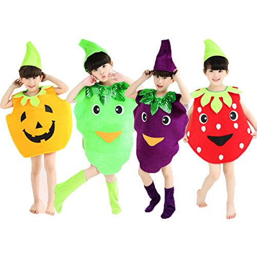 [Halloween Costumes Children/Adult Fruits Style Clothes Christmas Cosplay Pumpkin Grapes Strawberry Clothes (L/Child Height 100-120cm,] (Strawberry Costume)