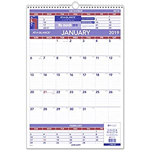 "AT-A-GLANCE 2019 Wall Calendar, 15-1/2"" x 22-3/4"", Large, Wirebound, 3-Month Display (PM628)"