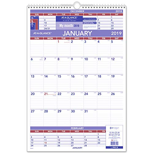 AT-A-GLANCE 2019 Wall Calendar, 15-1/2 x 22-3/4, Large, Wirebound, 3-Month Display (PM628)