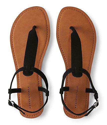 Aeropostale Faux Suede T-Strap Sandal 8 Black 1 (Aeropostale Clothing)