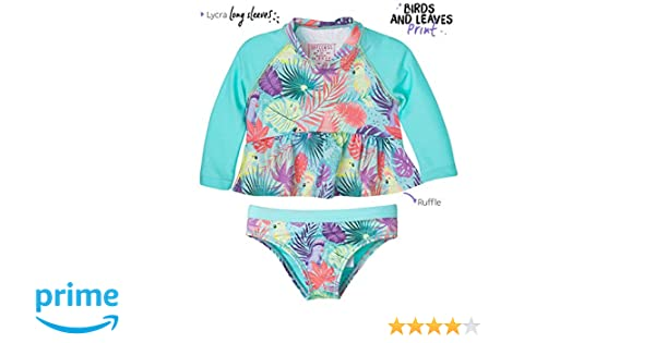 30c44276a0c0c Amazon.com: OFFCORSS Toddler Girl Long Sleeve Tankini Two Piece Swimsuit  Vestido de Baño Green 2T: Clothing