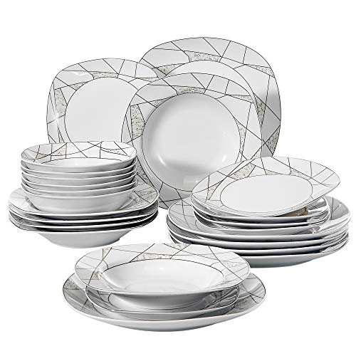 VEWEET 24-Piece Porcelain Dinnerware Set Ivory White Irregular Patterns Square Plate and Bowl sets with Dinner Plate, Soup Plate, Dessert Plate, Bowl, Service for 6 (SERENA Series)