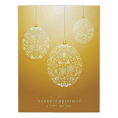 iPrint Satin Rectangular Tablecloth [ Christmas,Merry Xmas Round Baubles Hanging in the Air Advent Season Feelings Holy Day Print,Mustard ] Dining Room Kitchen Table Cloth Cover by iPrint
