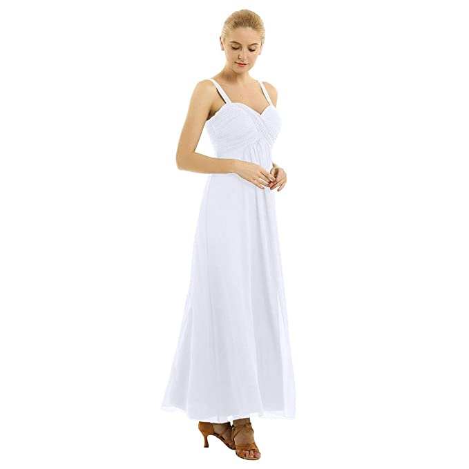 iiniim Vestido Largo Tirantes Mujer para Noche Fiesta Vestido de Boda Cóctel Novia Dama de Honor Vestido de Gasa Plisado Elegante Verano sin Manga