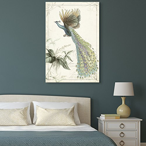 Vintage Style Flying Peacock on Floral Background