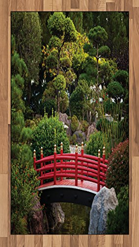- Lunarable Japanese Area Rug, Bridge Over Pond in Japanese Garden Monte Carlo Monaco with Trees and Plants, Flat Woven Accent Rug for Living Room Bedroom Dining Room, 2.6 x 5 FT, Red and Green
