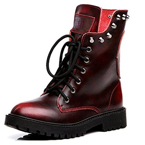 Clous Bottines Bloc 35 Montantes Crâne Lacets Femme Cuir Chaussures Bottes Plates En Rouge Oaleen Hiver Veau Talon nvO0Tq4a