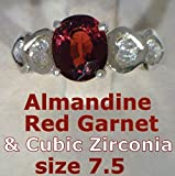 Red Almandine Garnet and CZ Handmade Sterling Silver Ladies Heart Ring size 7.5