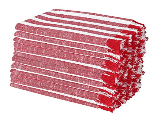Cotton Clinic Cloth Dinner Napkins 12 Pack 20x20, 100% Cotton for Everyday Use and Events - Soft, Durable and Comfortable Cocktail Napkins, Wedding Dinner Napkins, Red White -