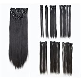 SWACC Women 22 Inches Straight Full Head 7 Separate Pieces Heat Resistance Synthetic Hair Clip in Hair Extensions (1B…