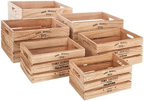 Paris Prix – Lote de 6 palé de almacenaje White Factory 40 cm Natural: Amazon.es: Hogar