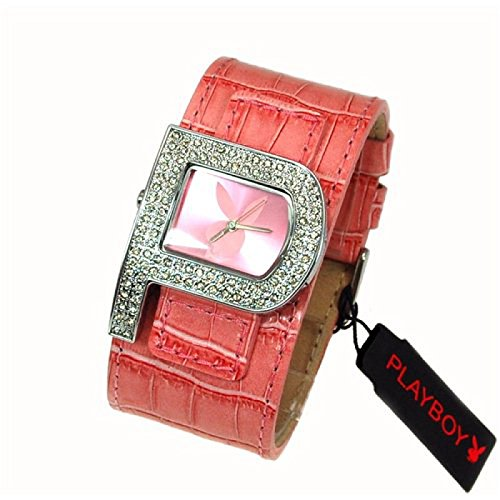 Playboy Pink Strap Ladies Designer Fashion Cuff Watch PB0189PK (Ladies Playboy Watch)