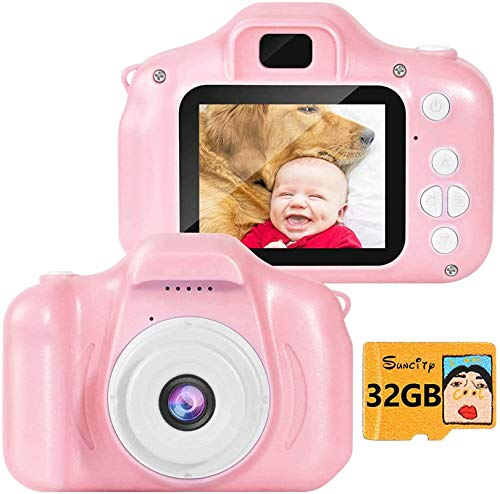 SUNCITY Kids Digital Camera, Christmas Birthday Gifts for Girls Age 3-9, HD Digital Video Cameras for Toddler, Portable Toy for 3 4 5 6 7 8 Year Old Girl with 32GB SD Card-Pink