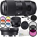Sigma 100-400mm f/5-6.3 DG OS HSM Contemporary Lens for Canon EF 10PC Accessory Bundle – Sigma MC-11 Mount Converter/Lens Adapter (Sigma EF-Mount Lenses to Sony E) + MORE