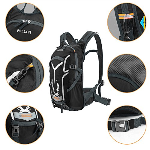 Pellor 18L Water-resistant Cycling Bike Shoulder Backpack Water Bag with Rain Cover for Outdoor Sports Riding Running Travel Mountaineering