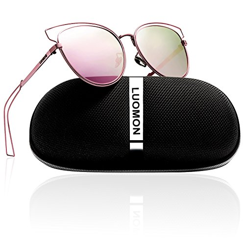 LUOMON Women's Polarized Butterfly Sunglasses Metal Pink Frame/Pink Mirrored Cat Eye Lens ()