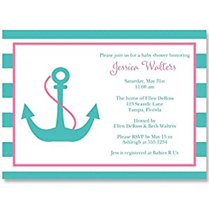 Nautical Baby Shower Invitations, Anchor, Anchors Away, Stripes, Girls, Aqua, Blue, Pink, Hot, Fuchsia, Sprinkle, Personalized, Set of 10 Printed Invites with Envelopes, Anchor Baby