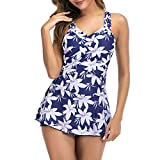 Zando Women One Piece Swimsuits Tummy Control Bathing Suits Swim Dress Slimming Skirt Swimwear Flower Print Blue 4-6 …