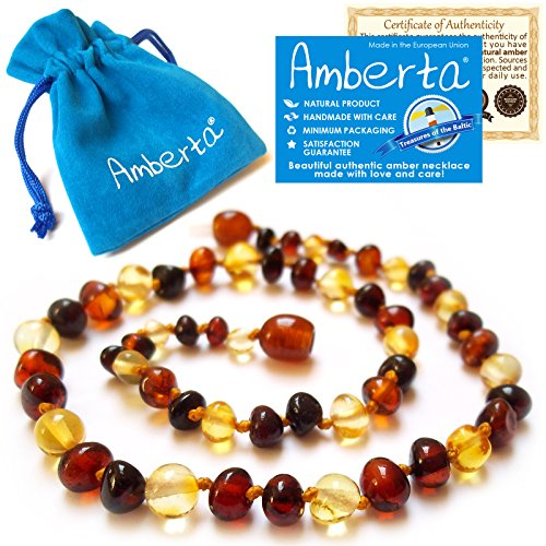 Amber Teething Necklace for Babies Amberta – Anti Inflammatory, Immune System Boost, Teething Discomfort  Drooling Relief – 100% Pure Amber, Twist-in…