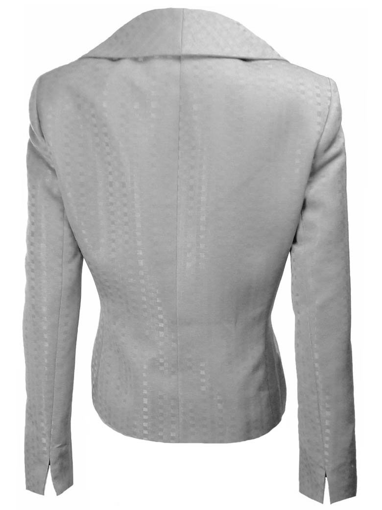 EVAN PICONE Brocade Faux Double Breasted Pleated Collar Jacket/Skirt Suit-GRAY-10P