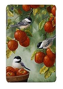 WtvBxC-2770-HLURo Case Cover, Fashionable Ipad Mini/mini 2 Case - Bird Painting Apple Harvest Chickadees