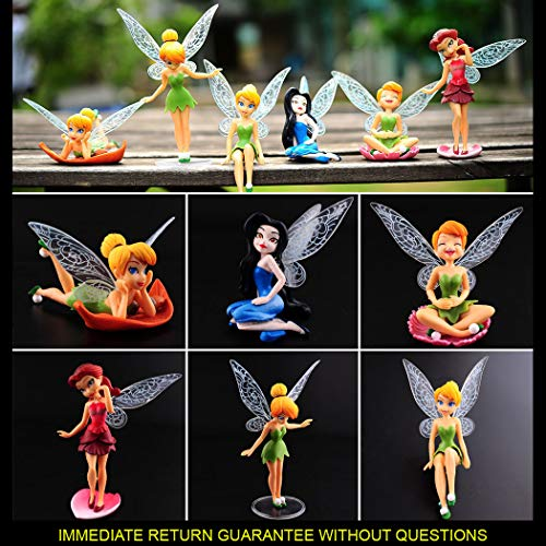 WAREHOUSEDEALS Tinkerbell Fairy Princess PVC Figures Birthday 6pcs Cake Topper Figurine Miniature Garden Decor Toys