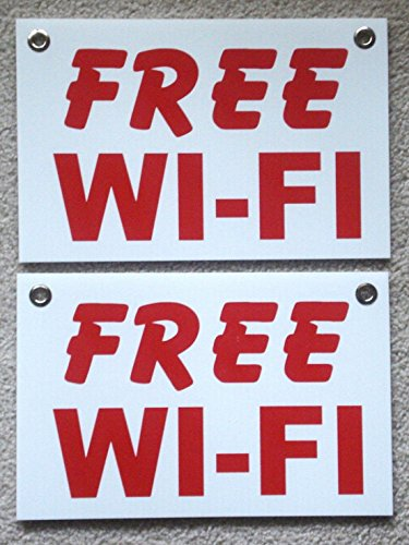 2 Pc Defectless Popular Free Wi-Fi Sign Outdoor Decal Store Window Indoor Message Size 8