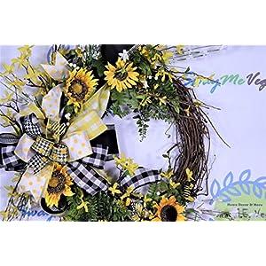 Sunflower Wreath, Summer Door Decor, Bumble Bee Decorations, Buffalo Plaid Farmhouse Wall Decor, Forsythia Floral, Grapevine Base, Spring 2