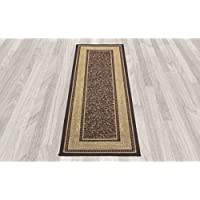 Ottomanson Ottohome Collection Chocolate Contemporary Bordered Non-skid Runner Rug (27 x 10).