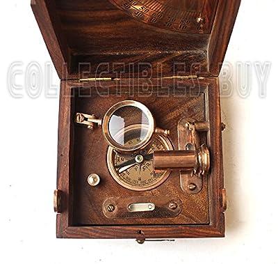 Collectibles Buy Antique Marine Master Instrument Box-telescope Compass Sprit Level Alidade Scale Chart Collectibles Vintage Instrument Box