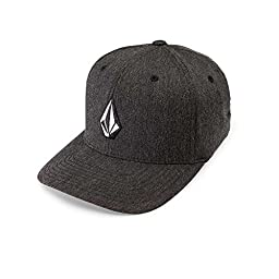 Volcom Men\'s Full Stone Heather Flexfit Stretch Twill Hat,Charcoal Heather,Large/X-Large