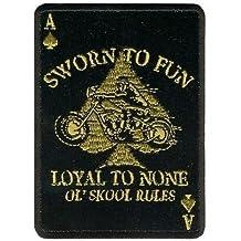 "SWORN TO FUN LOYAL TO NONE ACE SPADE Funny 3"" x 4"" Biker Vest Patch PAT-1780"