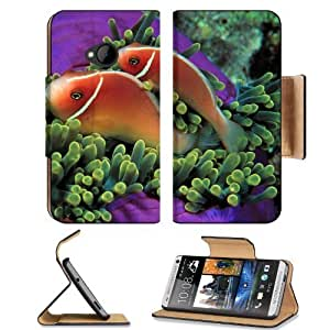 Animals Fish Clownfish Sea Anemones HTC One M7 Flip Cover Case with Card Holder Customized Made to Order Support Ready Premium Deluxe Pu Leather 5 11/16 inch (145mm) x 2 15/16 inch (75mm) x 9/16 inch (14mm) MSD HTC One Professional Cases Accessories Open wangjiang maoyi