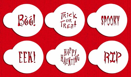 Designer Stencils C574 Small Halloween Cookie Stencil Sayings, Beige/semi-transparent -
