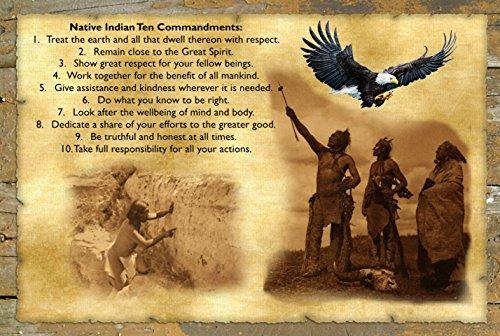 A 11x17 Wood Sign Poster Native American Indian Ten Commandments And Prayer (Ten Native American Commandments)
