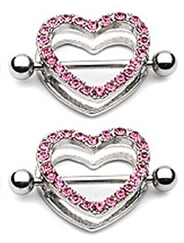 White Gem Paved Heart Nipple Shield Ring 14GA 7/8